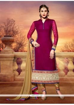 Gambling Magenta Velvet Churidar Salwar Suit