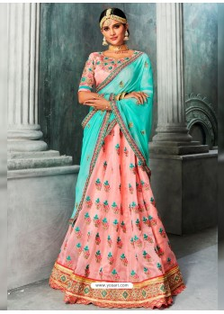 Baby Pink And Sky Blue Embroidered And Stone Worked Designer Lehenga Choli