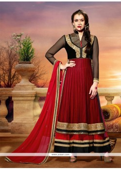 Red And Black Net Anarkali Salwar Suit