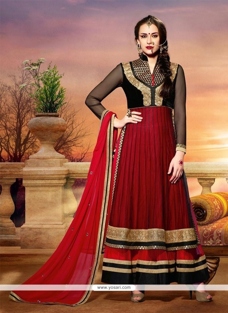 Red And Black Net Anarkali Salwar Suit