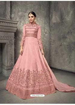 Light Pink Tussar Silk Embroidered Designer Floor Length Anarkali Suit