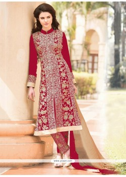 Flashy Red Georgette Pant Style Suit