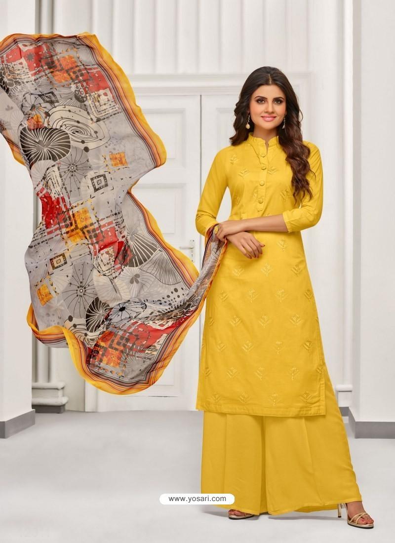 f4f336c958 Buy Yellow Cambric Cotton Digital Printed Designer Palazzo Suit ...