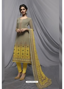 Grey And Yellow Georgette Designer Embroidered Straight Suit