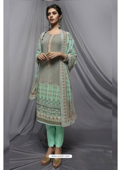 Sky Blue And Grey Georgette Designer Embroidered Straight Suit