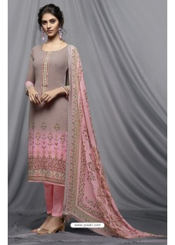 Dusty Pink And Light Pink Georgette Designer Embroidered Straight Suit