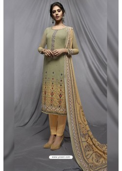 Olive Green And Cream Georgette Designer Embroidered Straight Suit