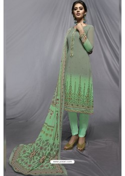 Jade Green And Olive Green Georgette Designer Embroidered Straight Suit