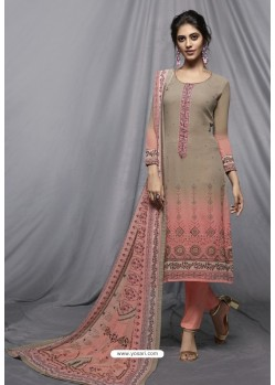 Light Pink And Grey Georgette Designer Embroidered Straight Suit