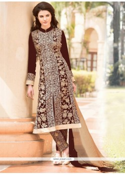 Enthralling Brown Georgette Pant Style Suit
