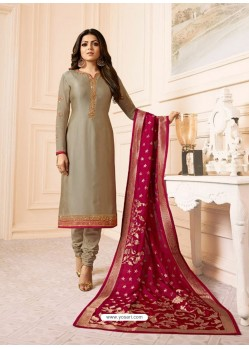 Taupe Georgette Embroidered Designer Churidar Suit
