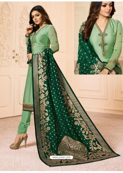 Green Georgette Embroidered Designer Churidar Suit