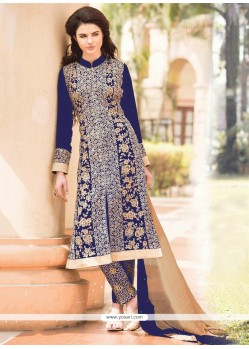 Stunning Blue Georgette Pant Style Suit