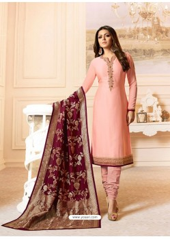 Peach Georgette Embroidered Designer Churidar Suit