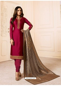 Wine Georgette Embroidered Designer Churidar Suit