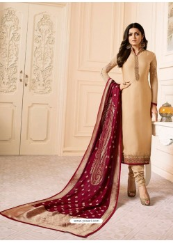 Beige Georgette Embroidered Designer Churidar Suit
