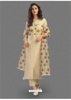 Pretty Beige Embroidered Chanderi Designer Straight Suit