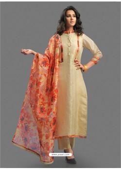 Attractive Beige Embroidered Chanderi Designer Straight Suit