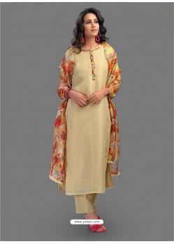 Fabulous Beige Embroidered Chanderi Designer Straight Suit