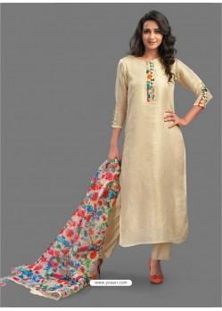 Superb Beige Embroidered Chanderi Designer Straight Suit