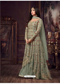 Olive Green Net Heavy Embroidered Floor Length Anarkali Suit