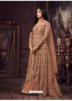 Rust Net Heavy Embroidered Floor Length Anarkali Suit