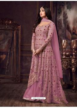 Light Pink Net Heavy Embroidered Floor Length Anarkali Suit