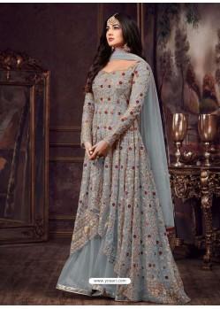 Grey Net Heavy Embroidered Floor Length Anarkali Suit
