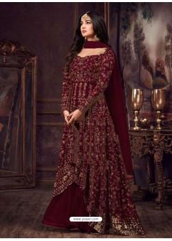 Maroon Net Heavy Embroidered Floor Length Anarkali Suit