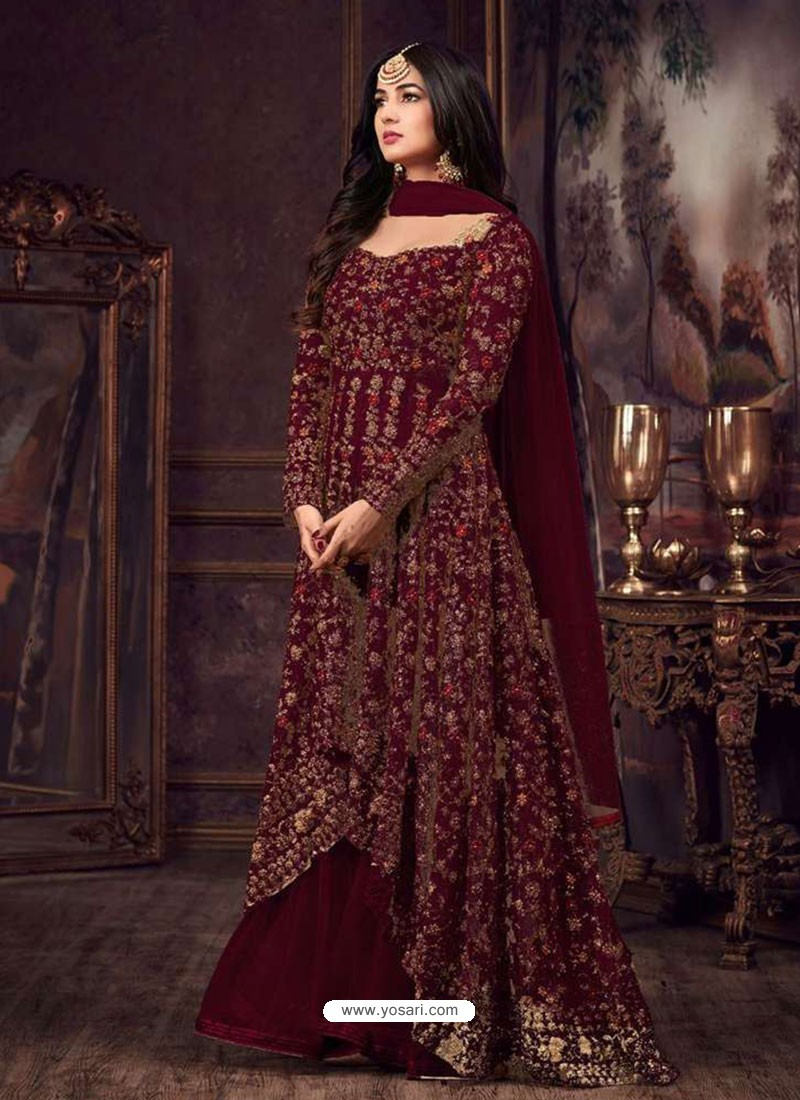 e1323efa5106 Buy Maroon Net Heavy Embroidered Floor Length Anarkali Suit ...
