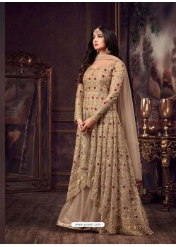 Beige Net Heavy Embroidered Floor Length Anarkali Suit