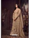 Beige Net Heavy Embroidered Floor Length Anarkali Suit