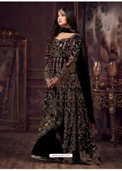 Black Net Heavy Embroidered Floor Length Anarkali Suit