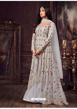 Silver Net Heavy Embroidered Floor Length Anarkali Suit