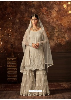 Off White Net Embroidered Designer Palazzo Suit
