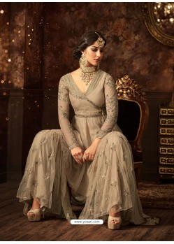 Light Beige Net Embroidered Designer Palazzo Suit