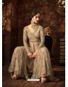 Light Beige Net Embroidered Designer Palazzo Suit
