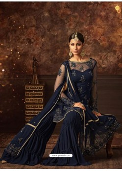 Navy Blue Net Embroidered Designer Palazzo Suit