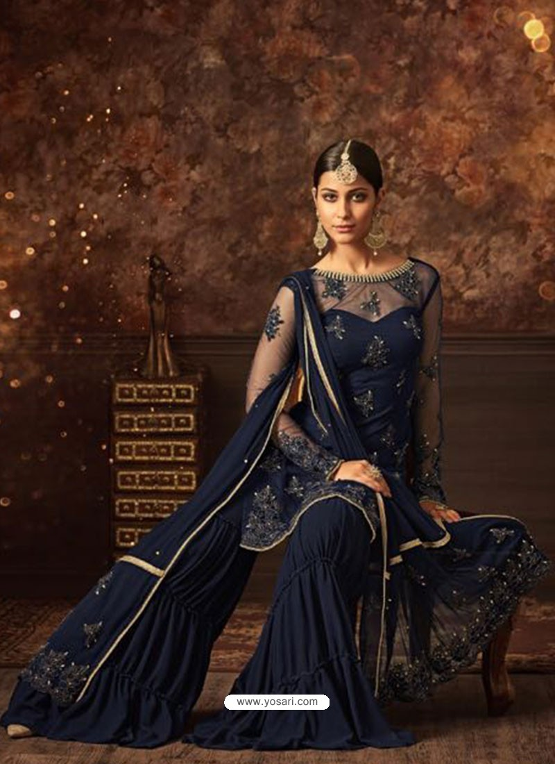 899f283f06 Buy Navy Blue Net Embroidered Designer Palazzo Suit | Palazzo Salwar ...