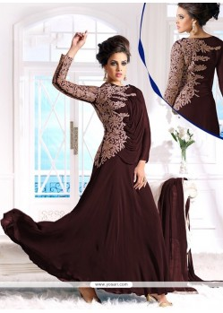 Creamish Brown Georgette Anarkali Salwar Suit
