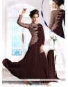 Creamish Brown Georgette Anarkali Salwar Suit
