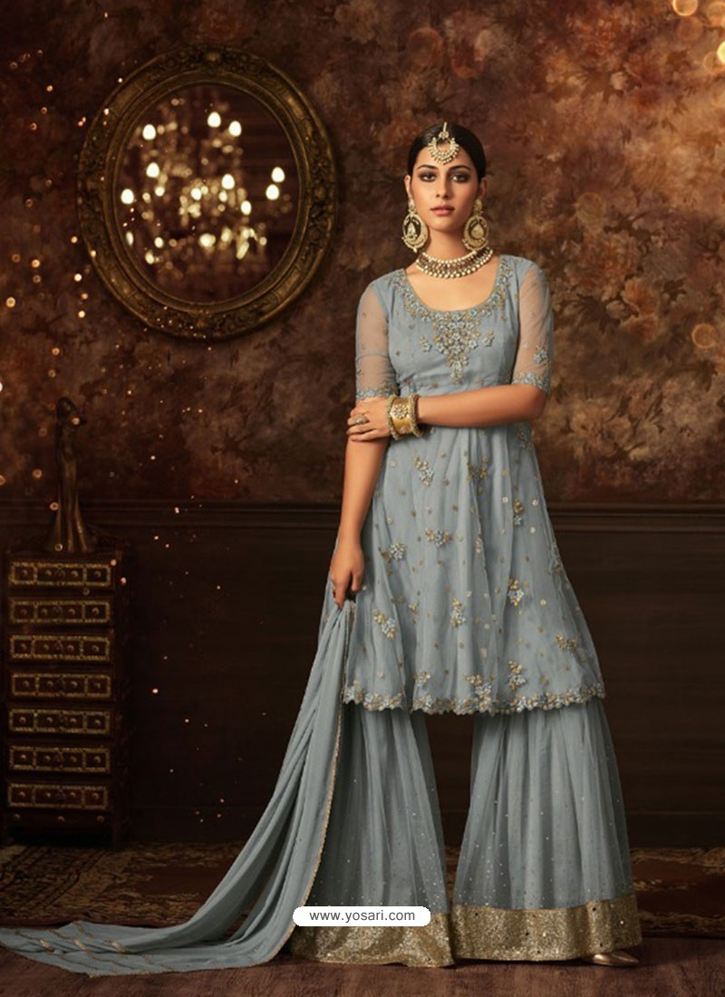 b5524201d Buy Grey Net Embroidered Designer Palazzo Suit | Palazzo Salwar Suits