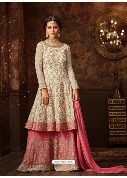 Cream And Pink Georgette Embroidered Designer Palazzo Suit