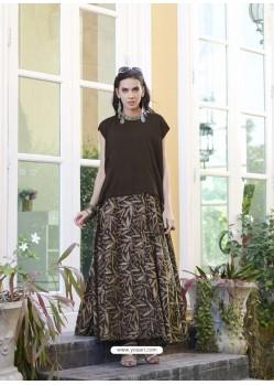 Coffee Brown Cambric Cotton Designer Readymade Long Kurti