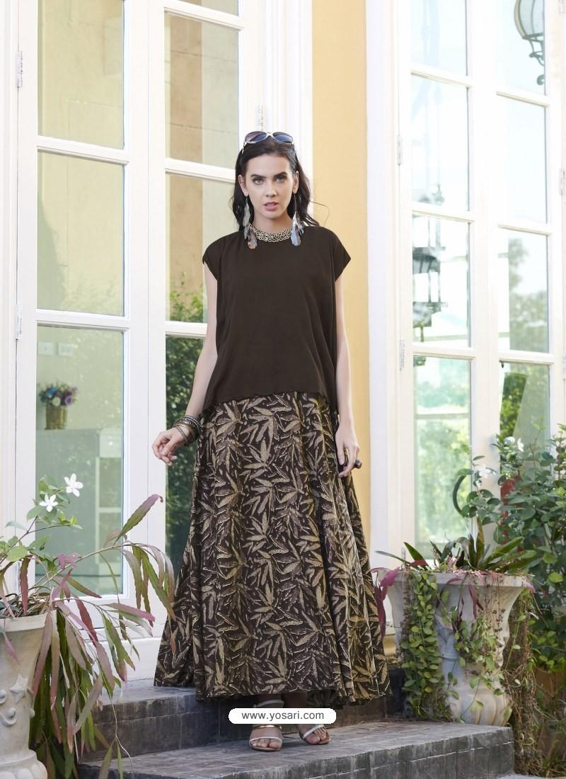 560527d9311a Buy Coffee Brown Cambric Cotton Designer Readymade Long Kurti ...