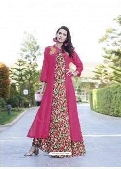 Fuchsia Rayon Cotton Designer Readymade Long Kurti
