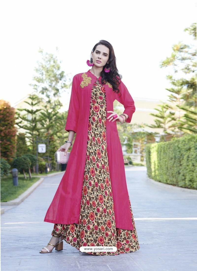 a7e427ab2f Buy Fuchsia Rayon Cotton Designer Readymade Long Kurti   Party Wear ...