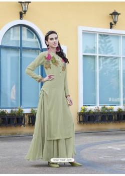 Olive Green Muslin Silk Cotton Designer Readymade Long Kurti