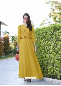 Corn Rayon Cotton Designer Readymade Long Kurti