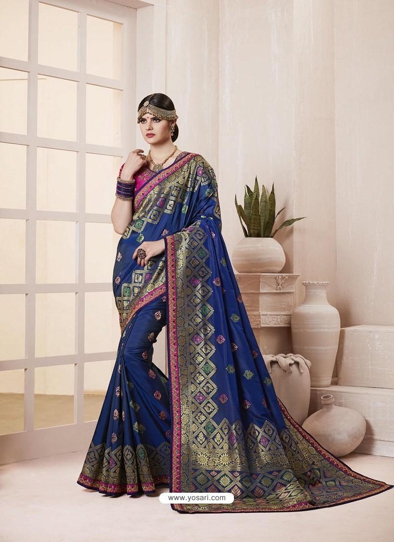 2bdcc76b87 Buy Navy Blue Banarasi Silk Jacquard Designer Party Wear Saree ...